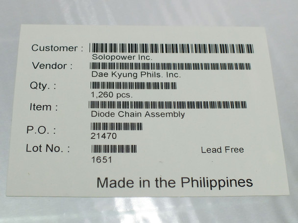 Dae Kyung Phils Diode Chain Assembly Flexible Solar Panels -Solopower- Box 1260