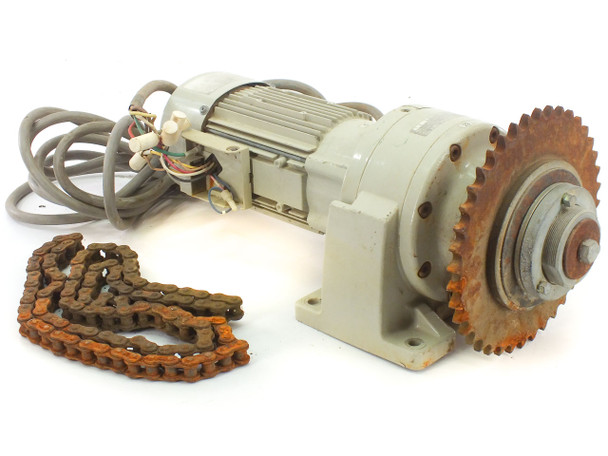 Sumitomo CNHMO5 ALTAX Hoist Gearbox with Induction Motor, Sprocket, and Chain