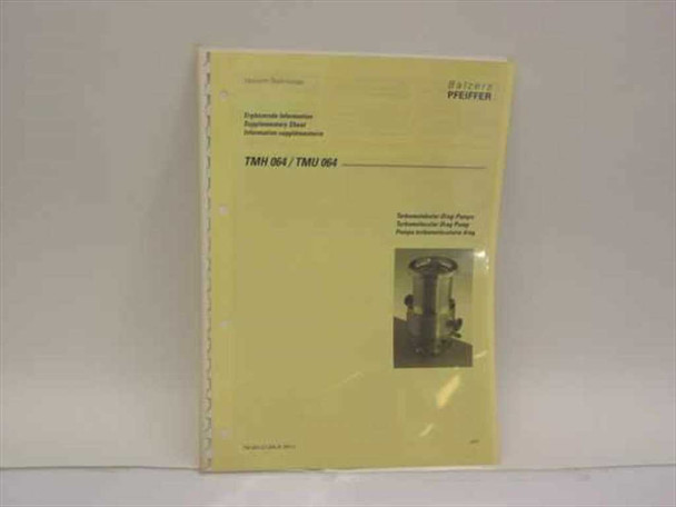 Balzers Pfeiffer TMH 064/TMU 064 Turbomolecular Drag Pump Operating Instructions