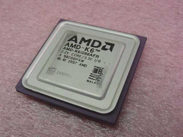 AMD K6/266AFR 266MHz 66 Mhz 32 KB Level 1 Cache 2.2 V Core Vintage CPU