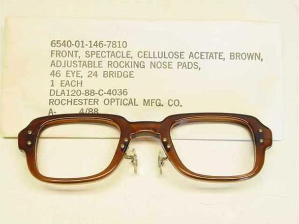 USS Classic Horn-Rimmed Eyeglasses Frame 6540-01-146-7810 Size: 46 Eye 24 Bridge