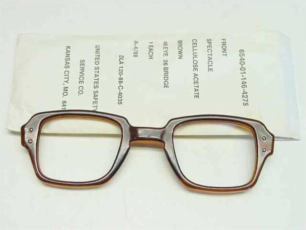 USS Classic Horn-Rimmed Eyeglasses Frame 6540-01-146-4275 Size: 46 Eye 26 Bridge