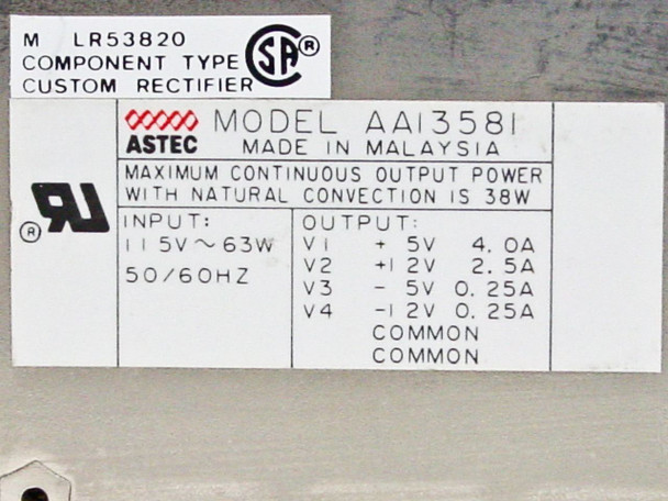 Apple Power Supply for Apple IIGS Desktop Computer AA13581 699-0126