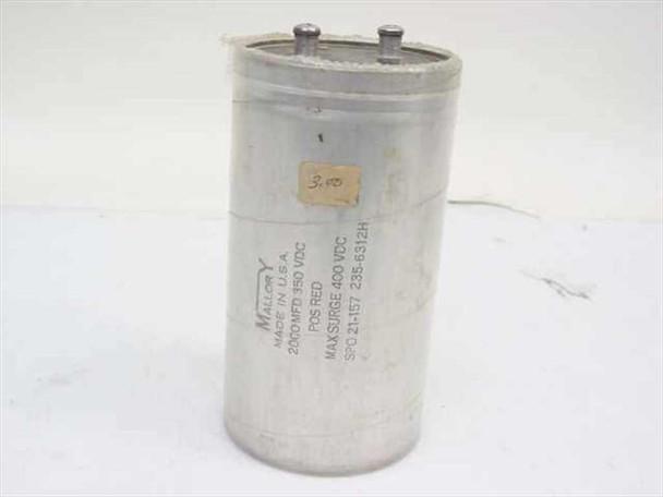Mallory SPO21-157 Electrolytic Capacitor 2,000 uF 350VDC Max Surge 400VDC