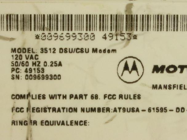 Motorola Codex 3512 DSU / CSU Modem - No Power Supply 49153