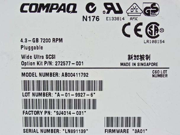 Compaq  4.3GB 7200 RPM 7.2K 80PIN SCSI-3 AB00411792