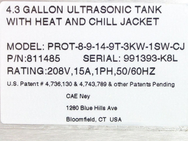 CAE Ney Ultrasonics 4.3GAL Ultrasonic Tank with Heat & Chill Jacket (811485)