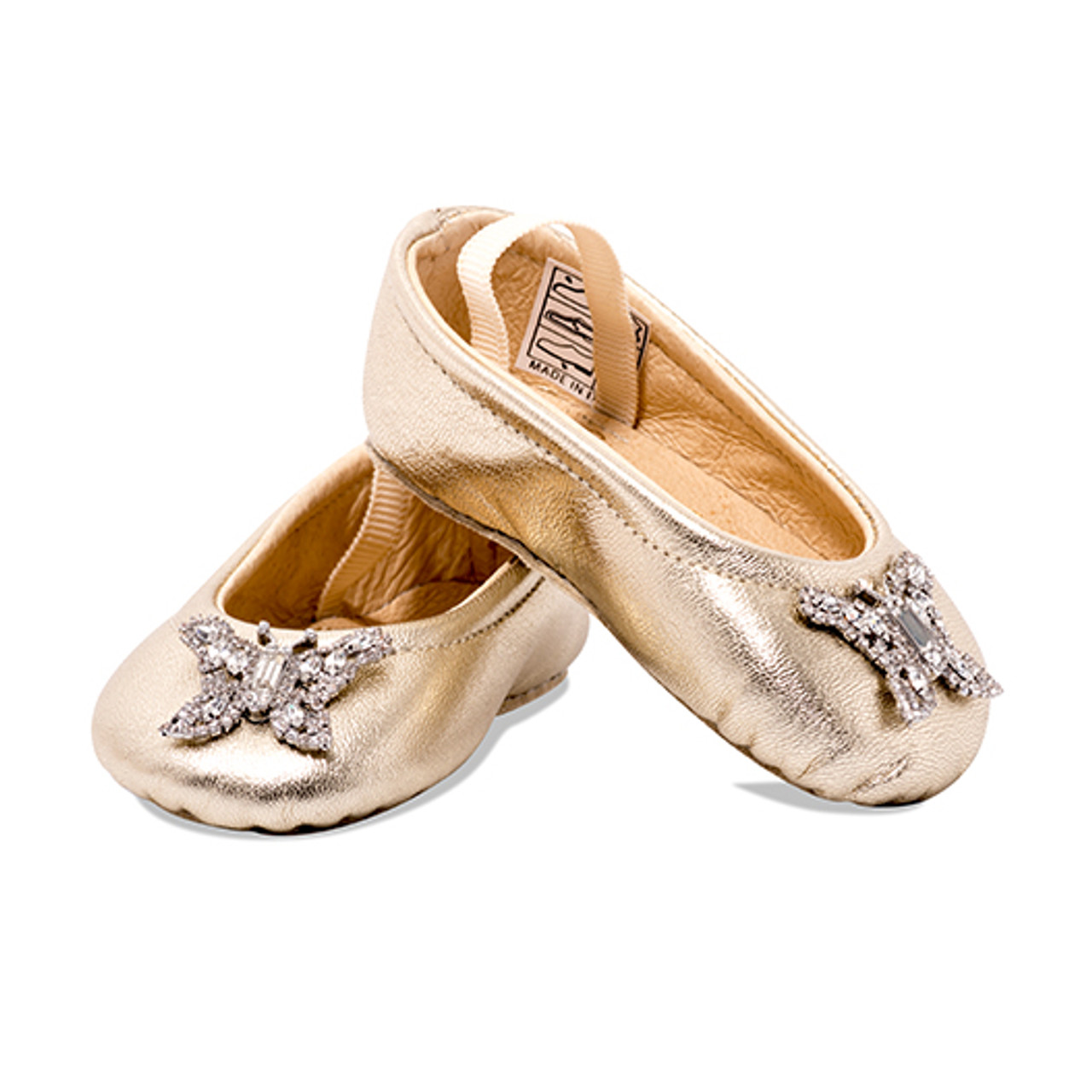 Odette Gold Leather Baby Shoes