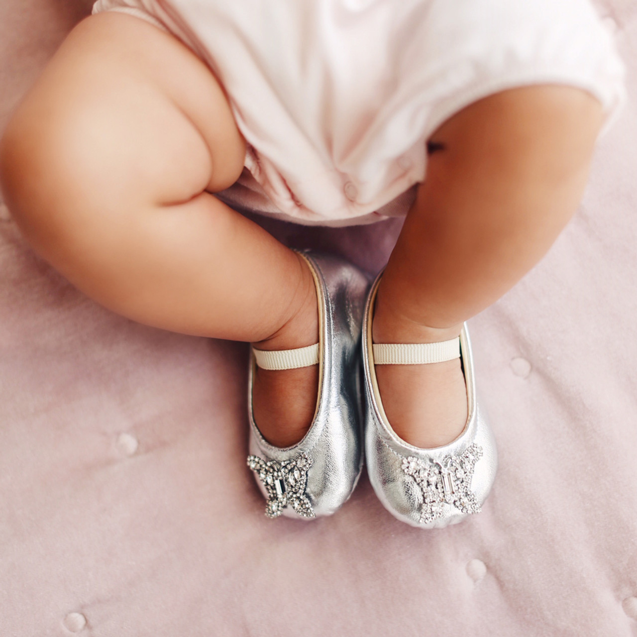 Odette Silver Leather Baby Shoes