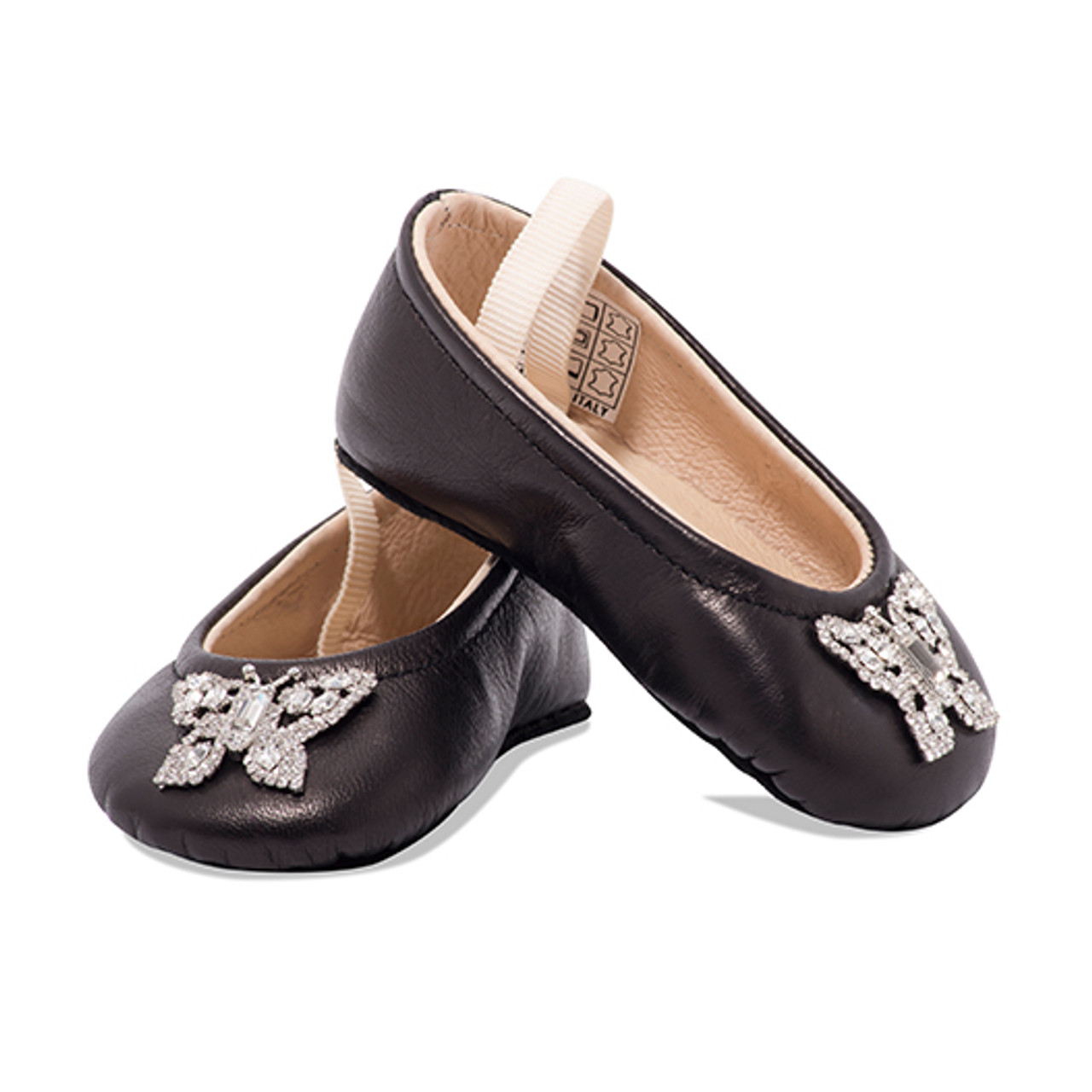 Odette Black Leather Baby Shoes
