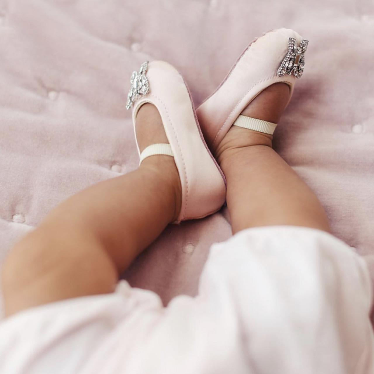 Odette Baby Soft Pink Satin Shoes