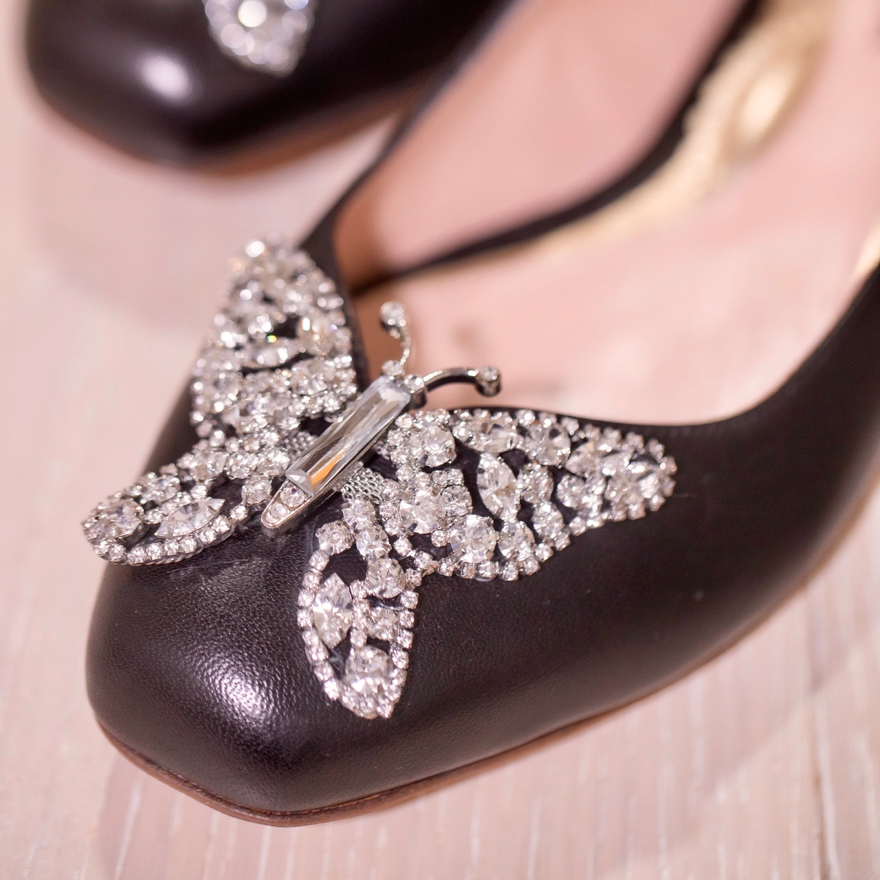 Carrie Ballerina Flat Black Leather