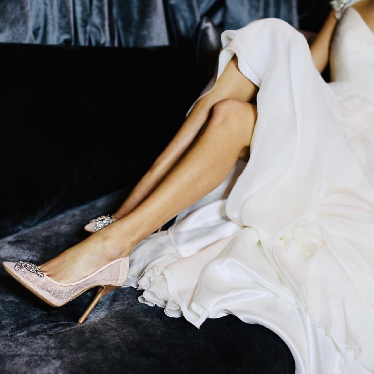 April Farfalla Stiletto Blush Lace