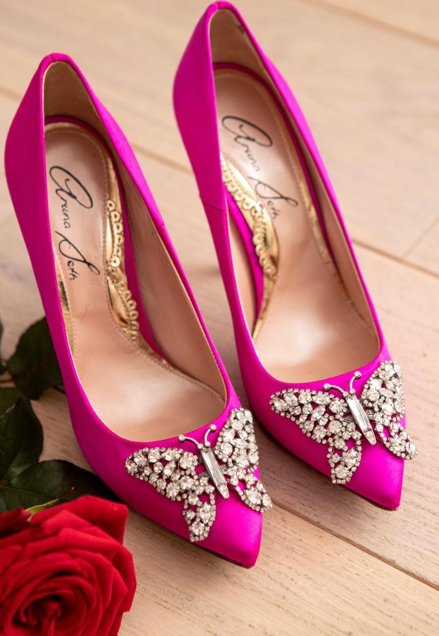 April Farfalla Stiletto Neon Pink Satin