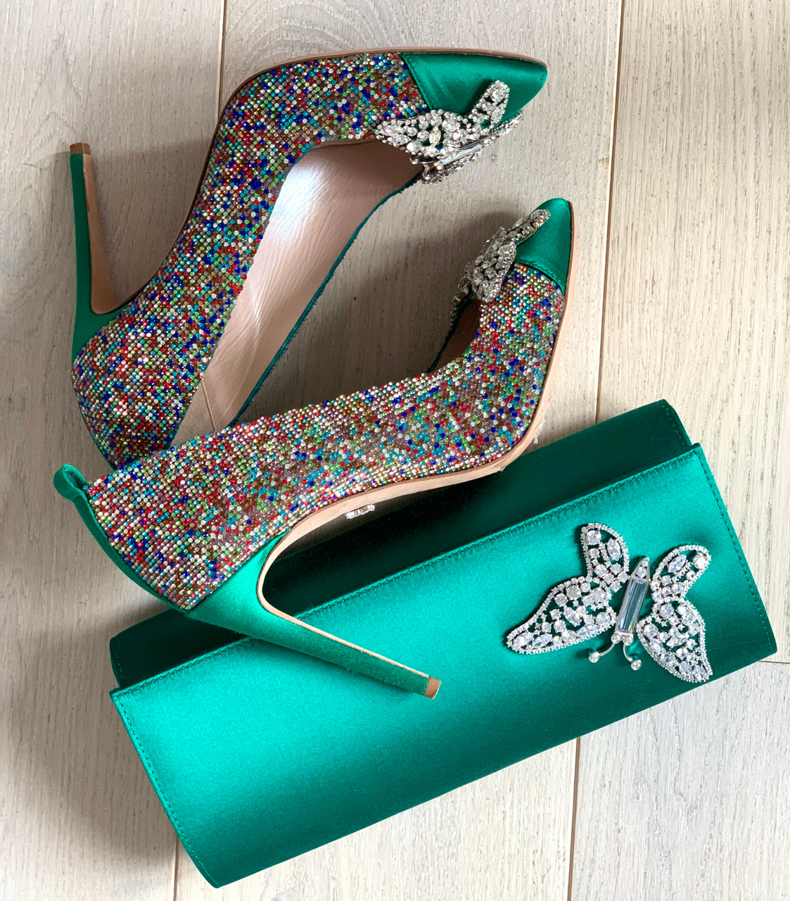 Farfalla Emerald Green Confetti Pointy