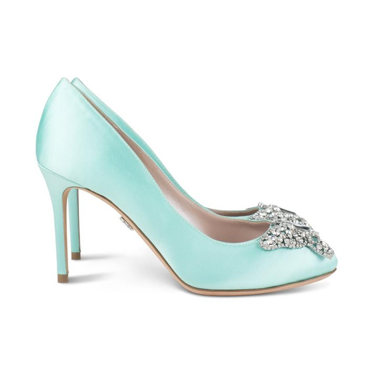 Sophia Round Toe Tiffany Blue Satin