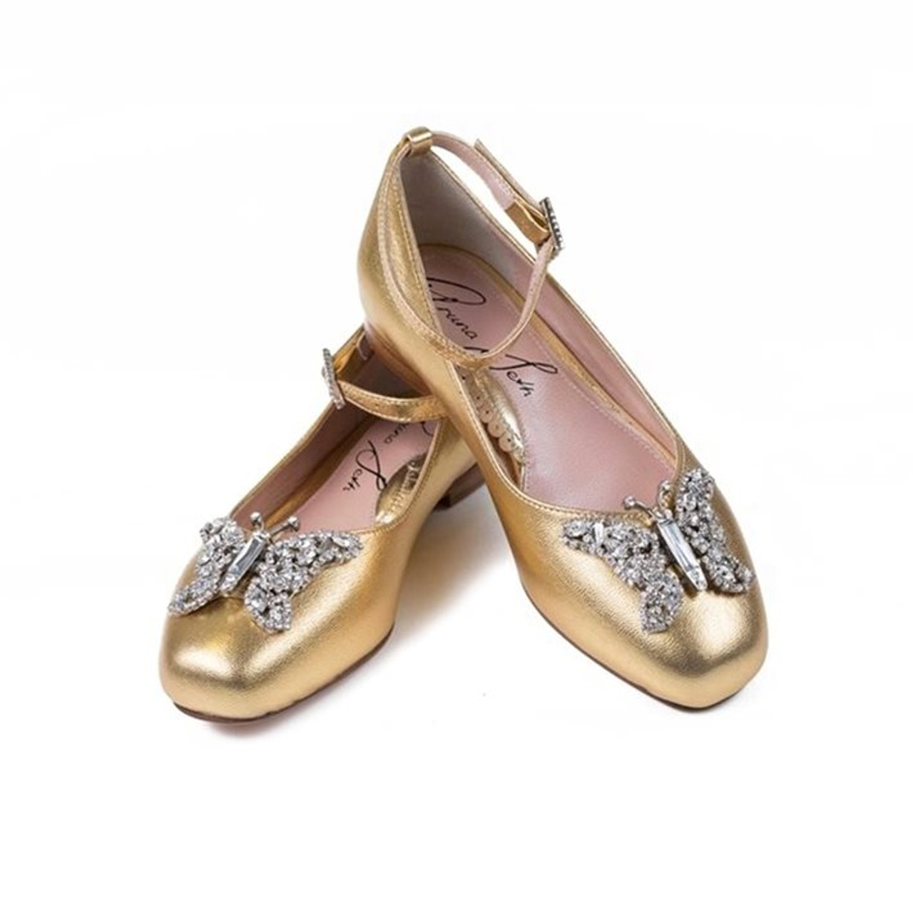 Anais Gold Leather Ballerina