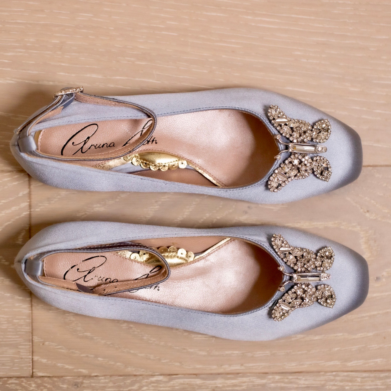 Anais Stone Grey Satin Ballerina