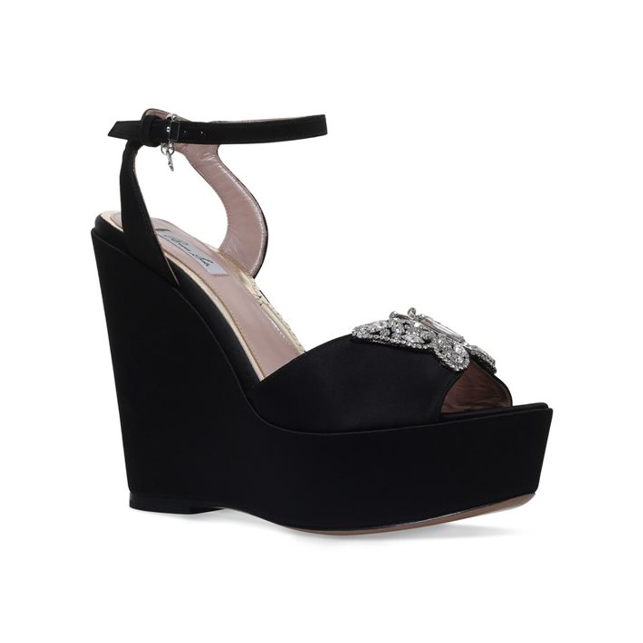 Ambrosine Wedge Heel Black Satin