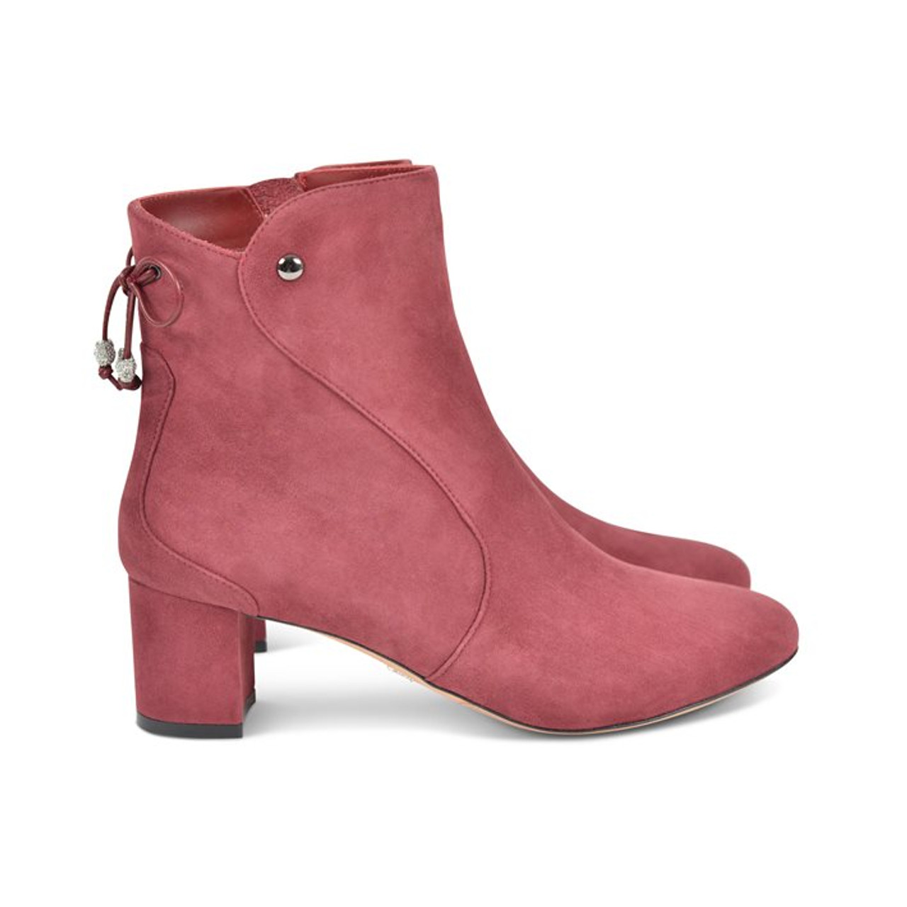 hot sales quality incredible prices Aida Block Heel Ankle Boot Burgundy Suede