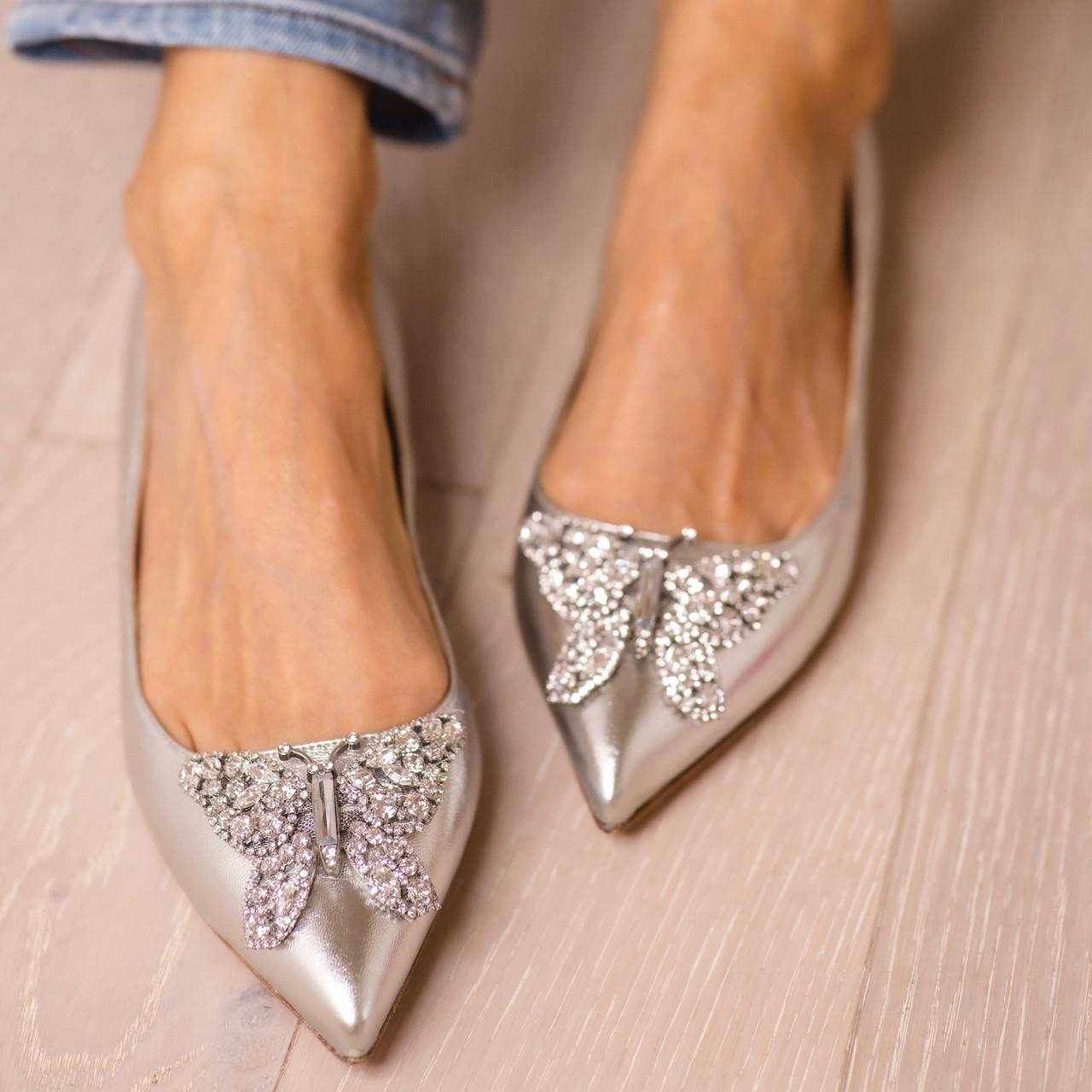 Eliana Ballerina Flat Pointy Silver Leather