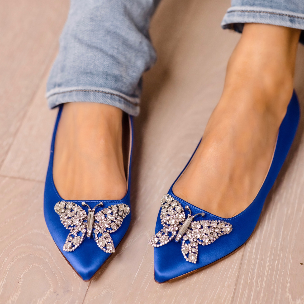Eliana Ballerina Flat Pointy Cobalt Blue Satin