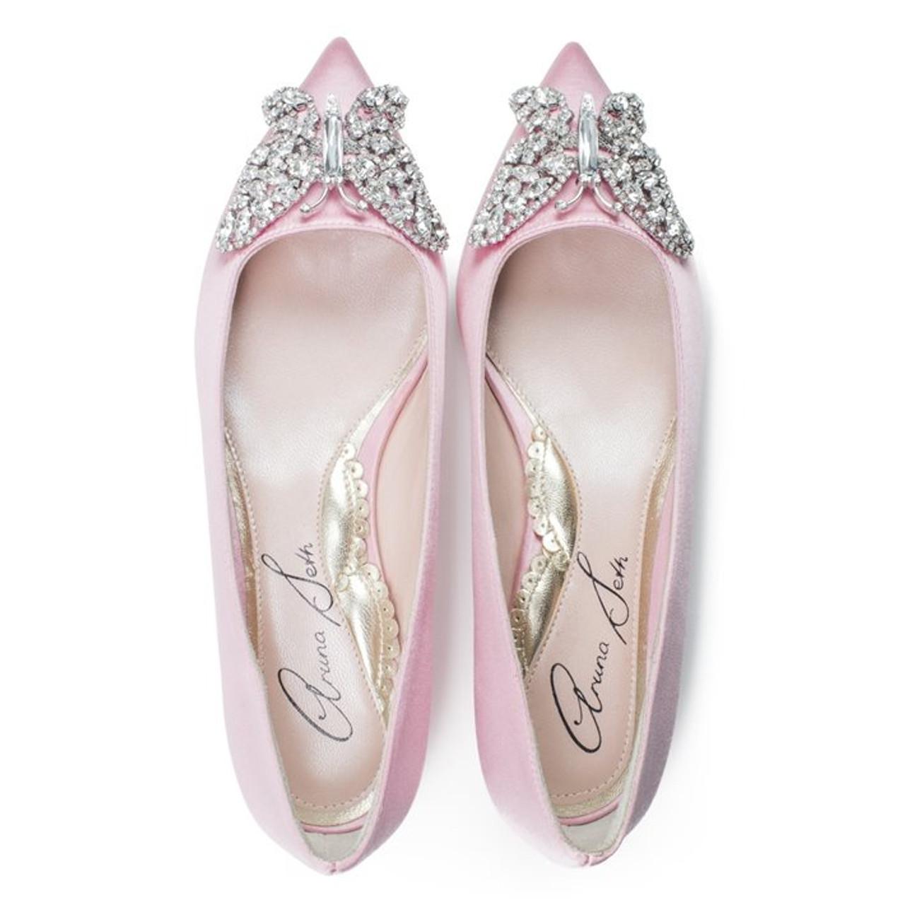 Eliana Ballerina Flat Pointy Baby Pink Satin