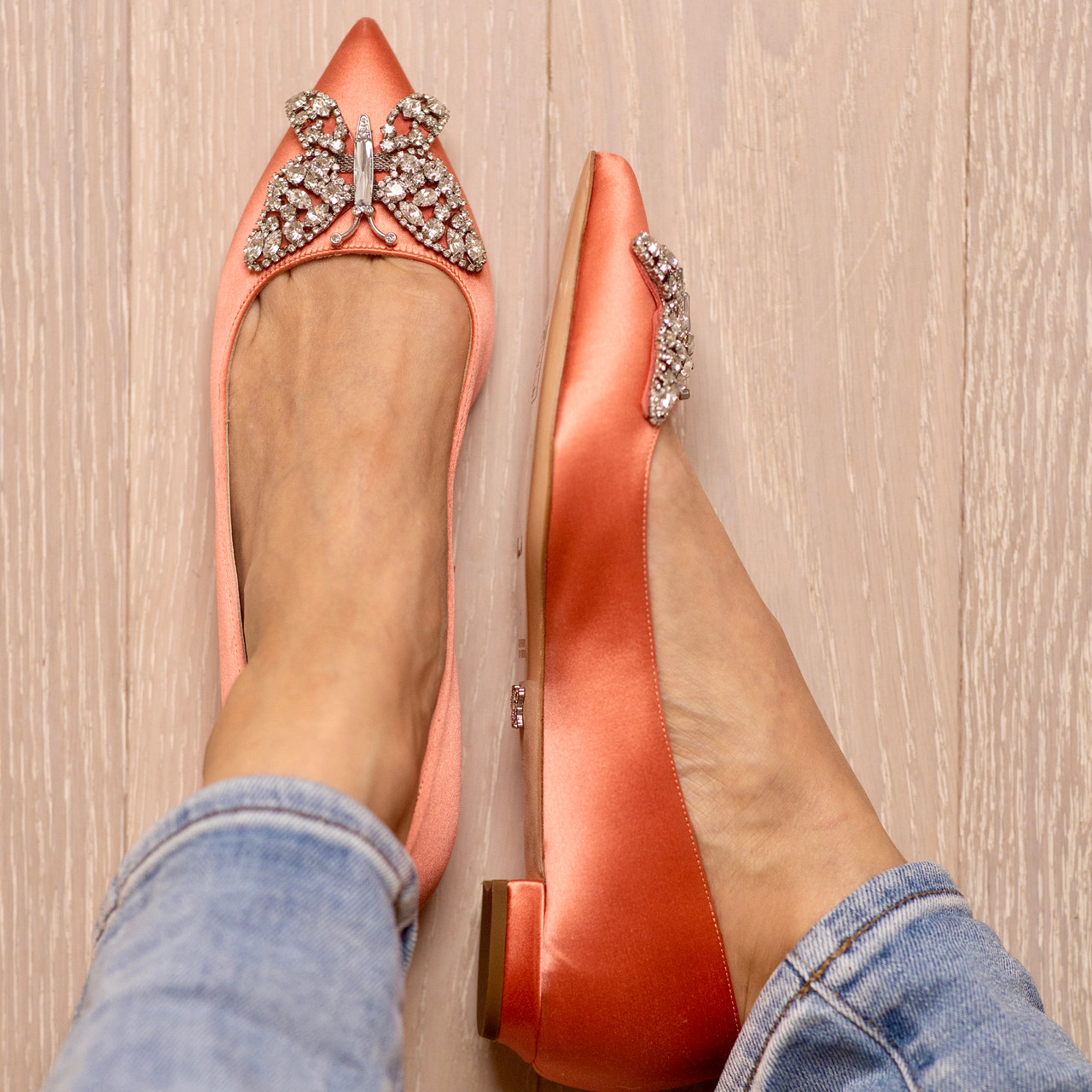 Eliana Ballerina Flat Pointy Coral Satin