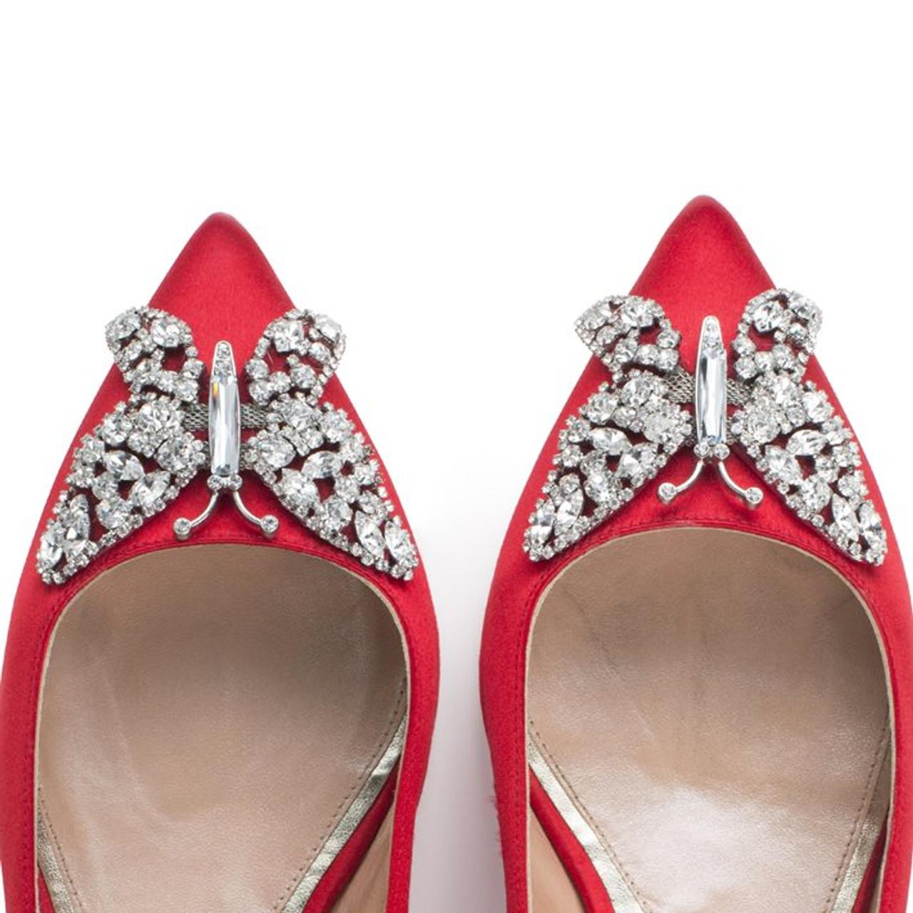 Eliana Ballerina Flat Pointy Red Satin