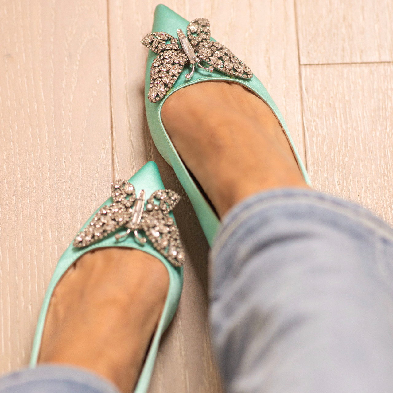 Eliana Ballerina Flat Pointy Tiffany Blue Satin