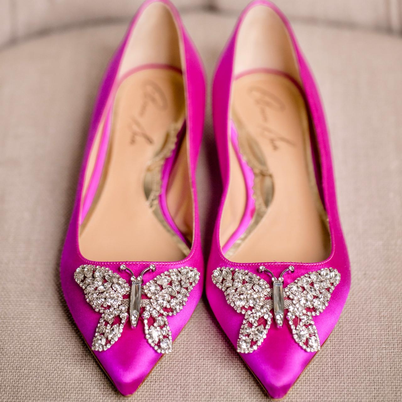 Eliana Ballerina Flat Pointy Neon Pink Satin