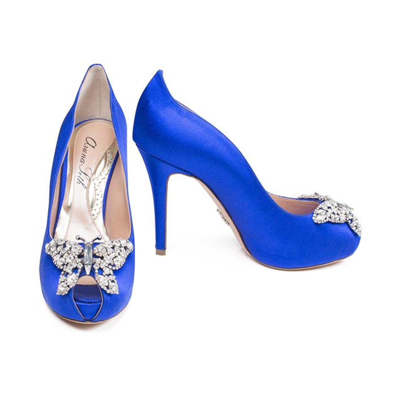 Evi Open Toe Cobalt Blue Satin Platform 110mm