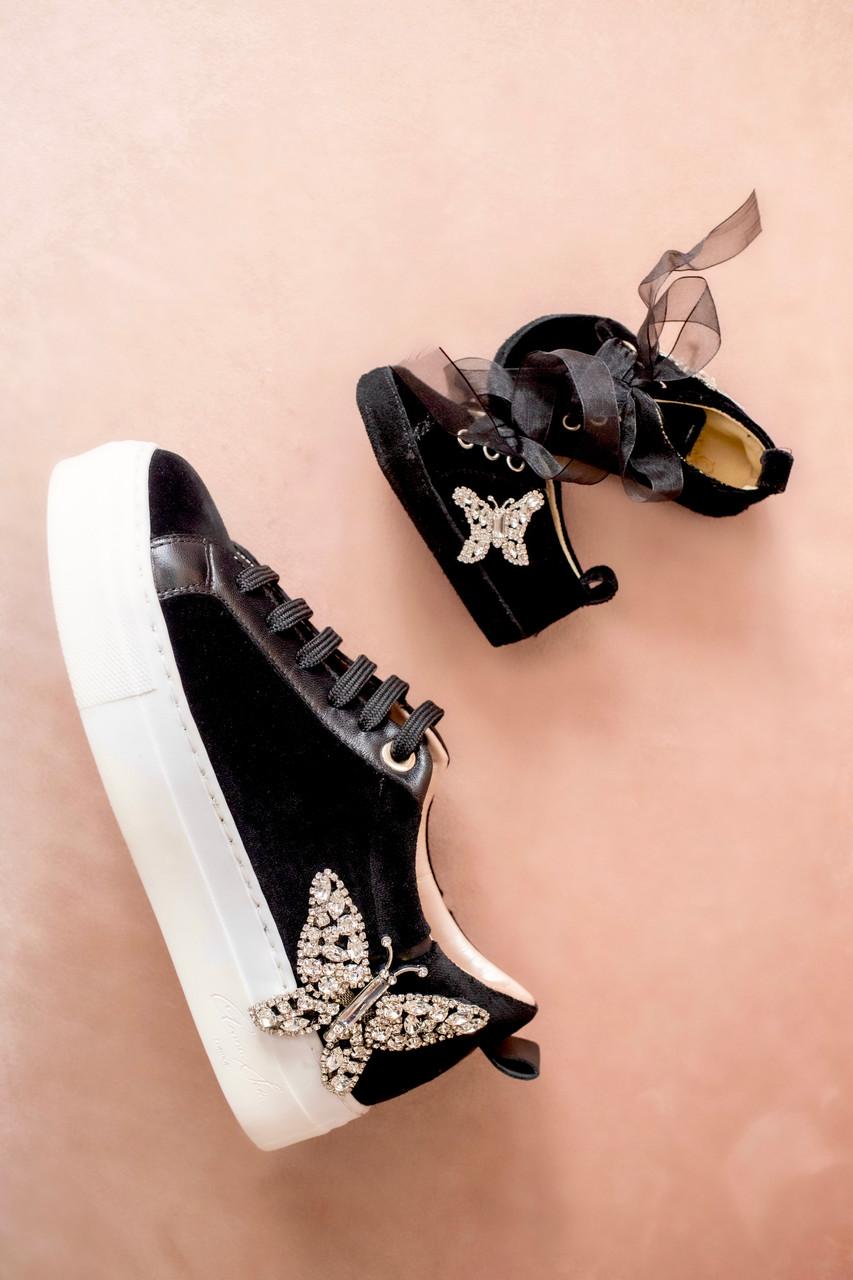Baby Rocket Black Velvet Sneaker
