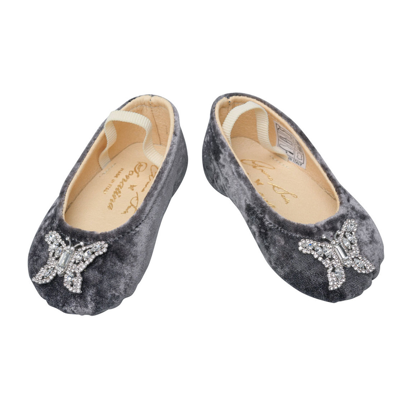 Odette Grey Velvet Baby Shoes