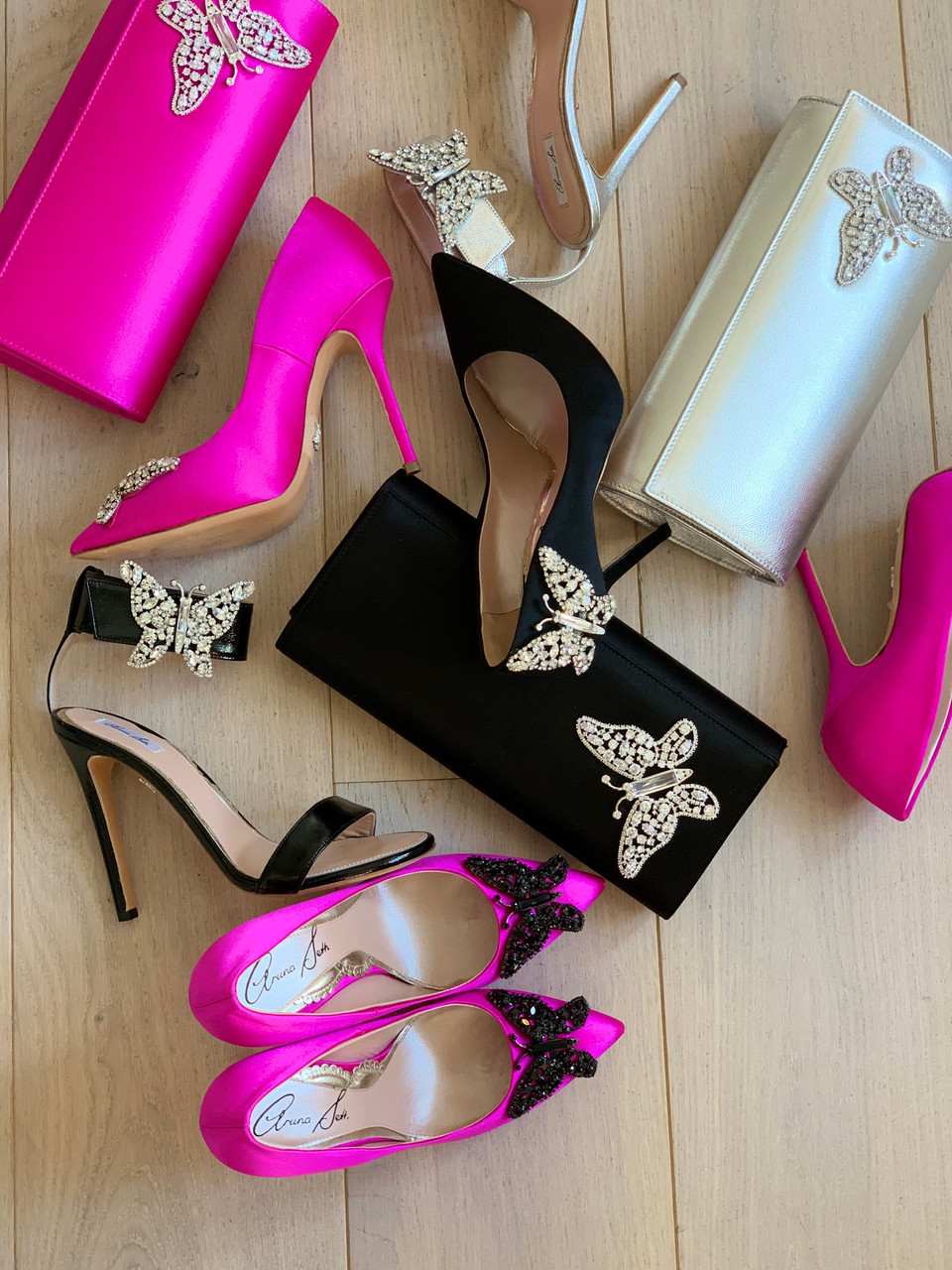 April Farfalla Stiletto Neon Pink Satin Black Crystal