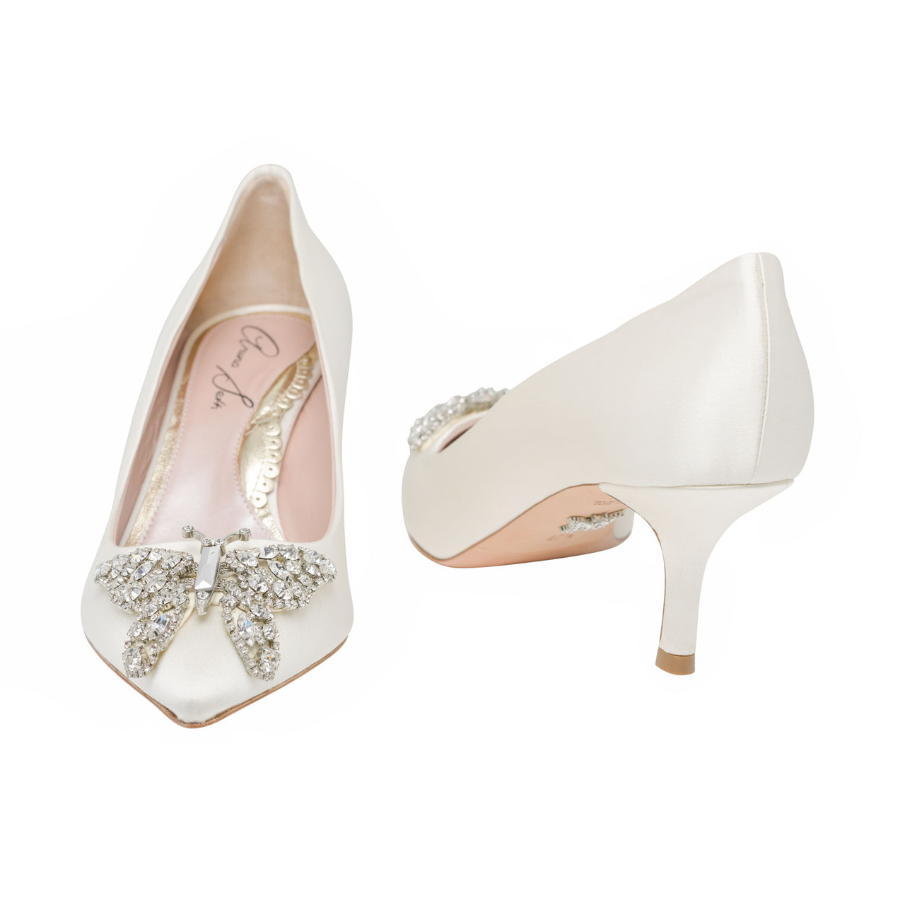 Grace Pointed Toe Ivory Satin Low Heel