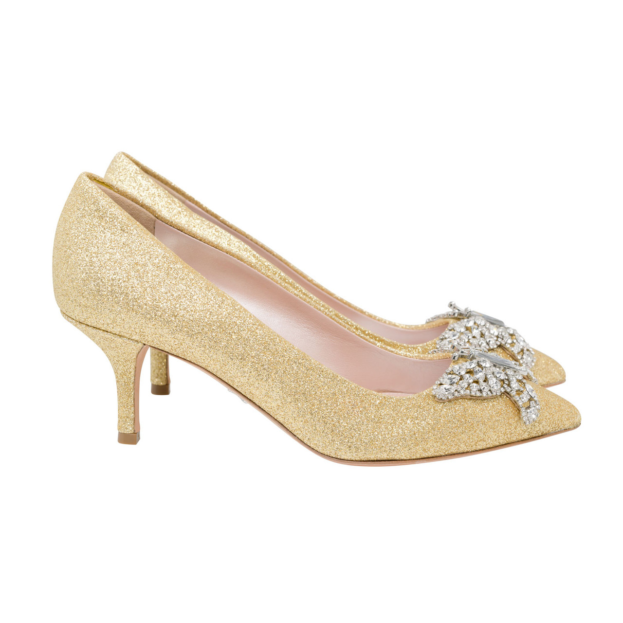 Grace Pointed Toe Gold Glitter
