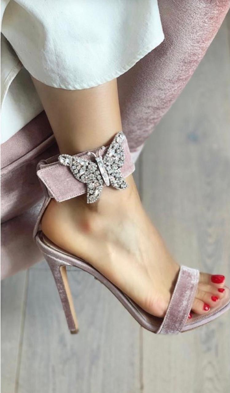Blush Velvet Portofino Farfalla Sandals