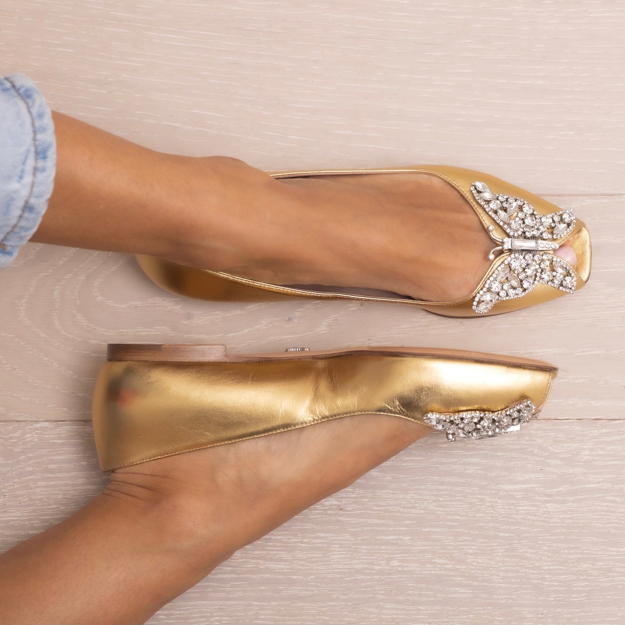 Liana Butterfly Flat Gold Leather