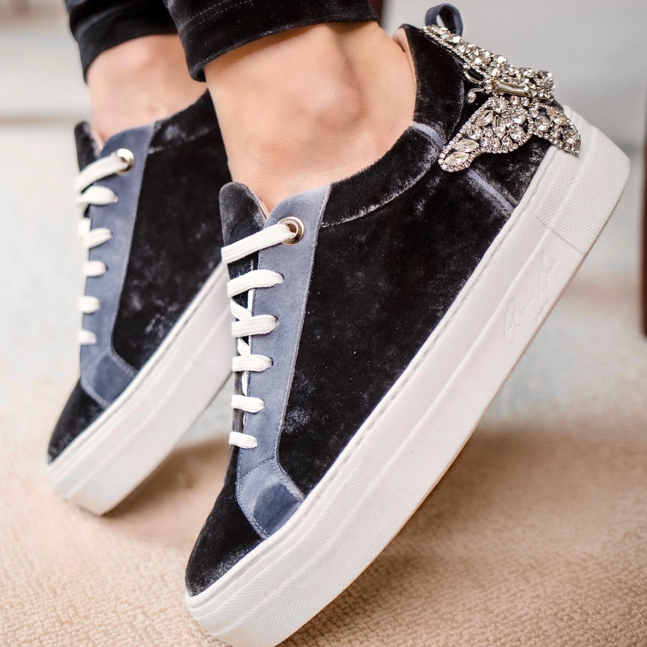 Rocket Grey Velvet Sneaker