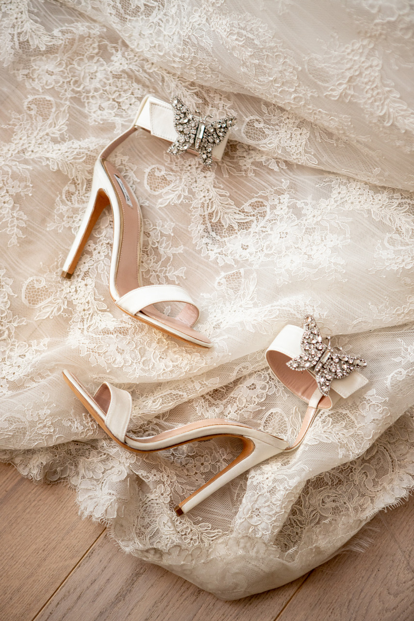 Portofino Embellished Ivory Satin Heel Sandals