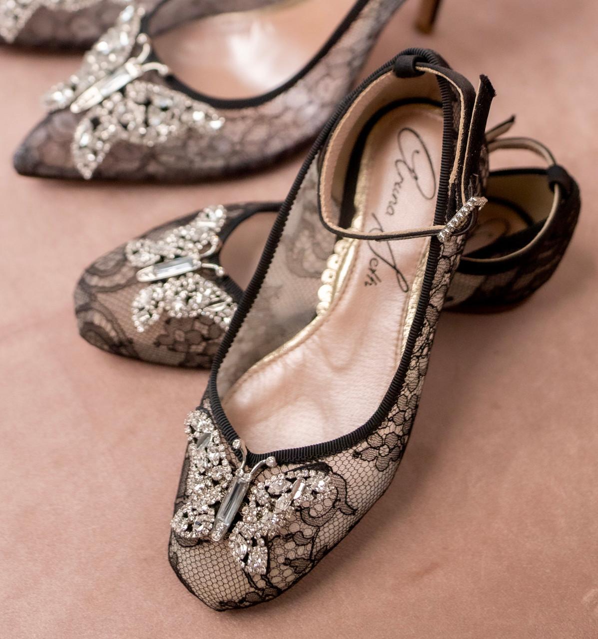 Anais Black Chantilly Lace Ballerina