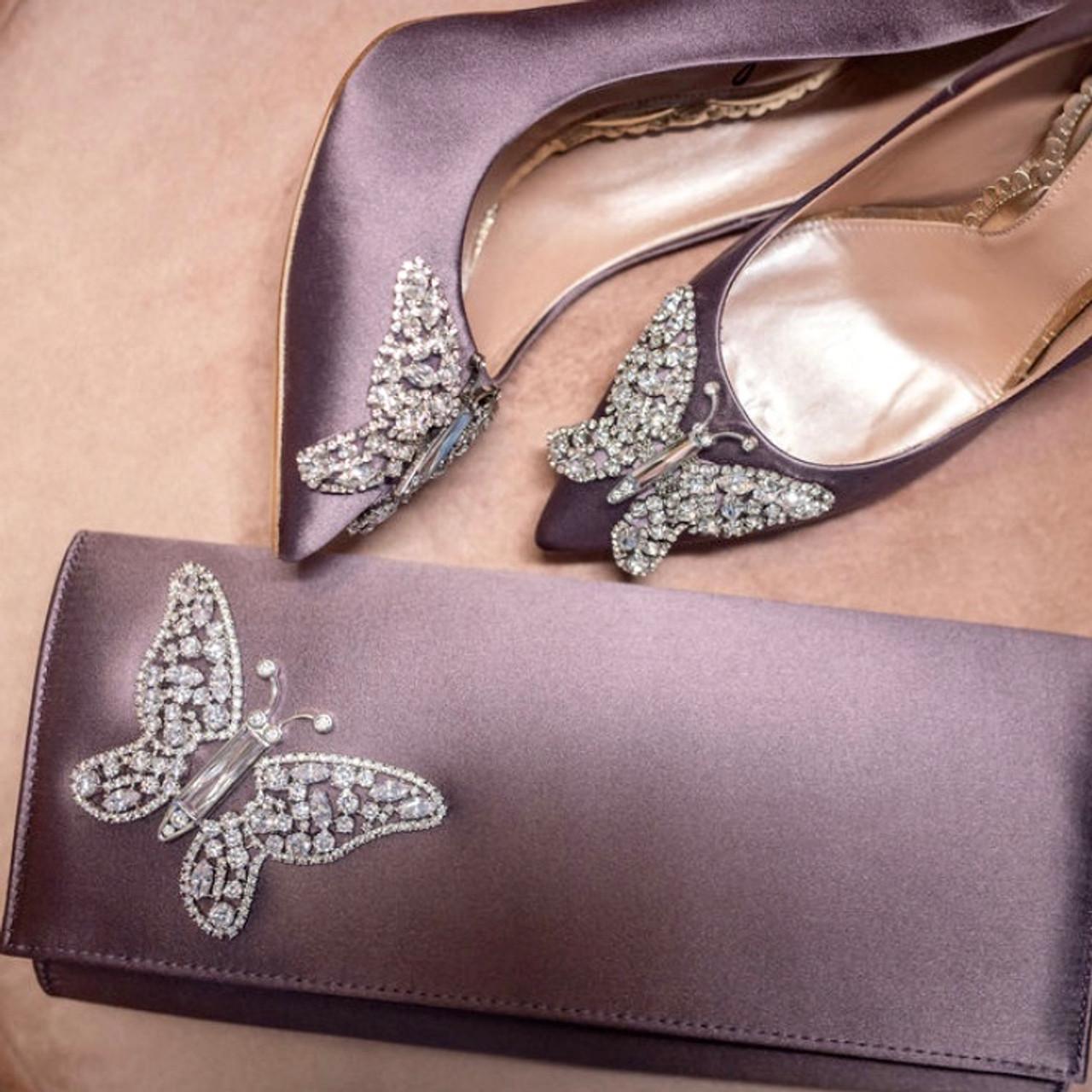 Farfalla Lilac Satin Clutch Bag