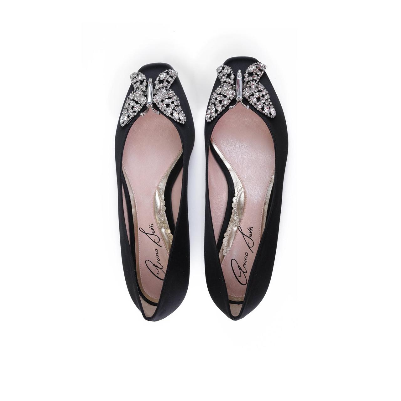 Carrie Ballerina Flat Black Satin