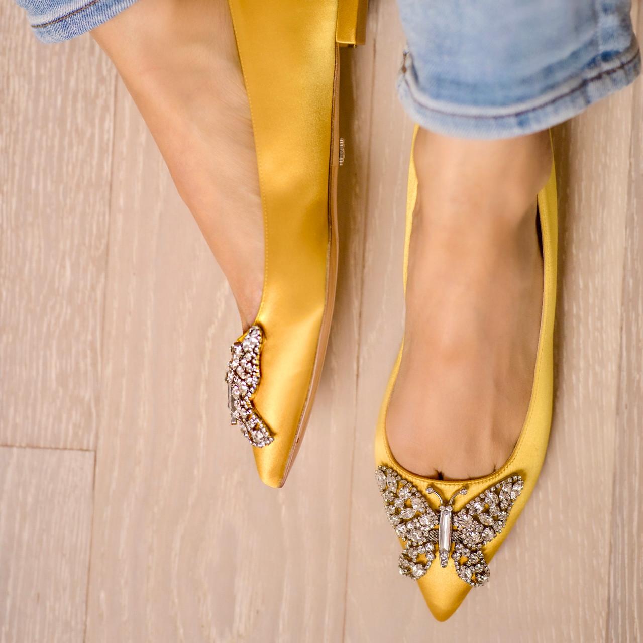 Eliana Ballerina Flat Pointy Yellow Satin