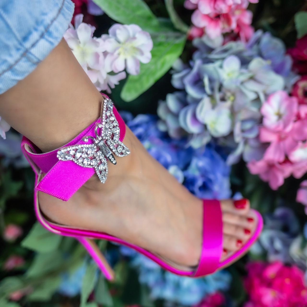 Portofino Embellished Neon Pink Satin Heel Sandals