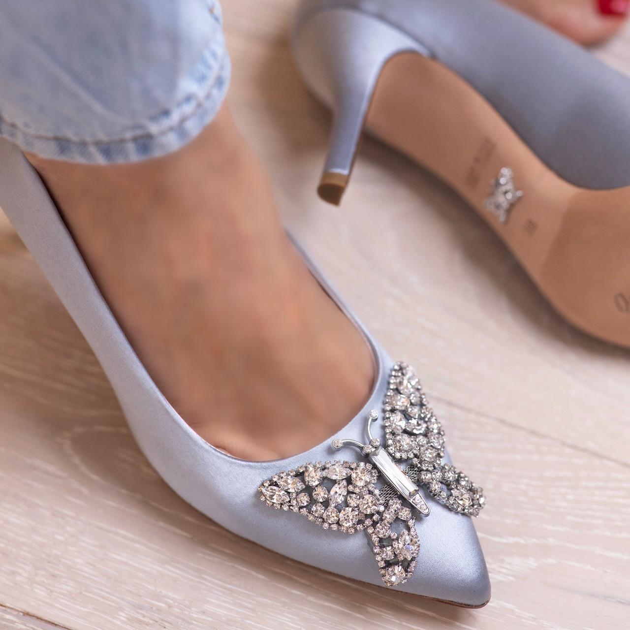 Emilia Farfalla Stiletto Silver Satin