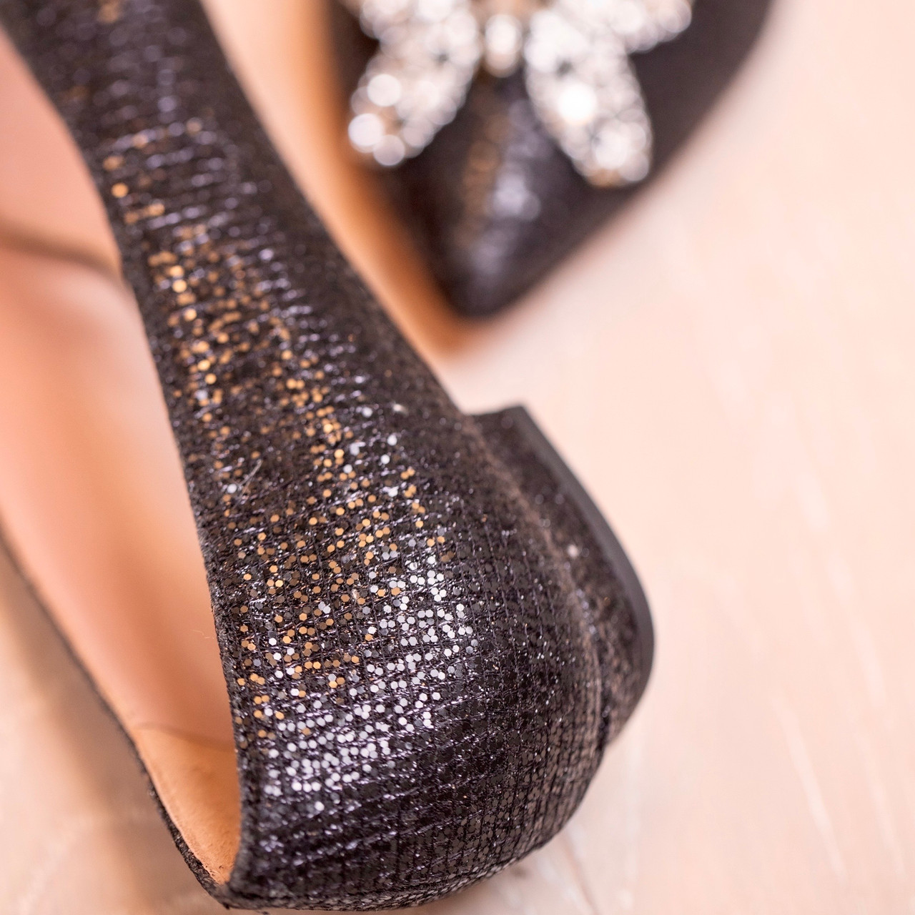 Eliana Ballerina Flat Pointy Black Glitter