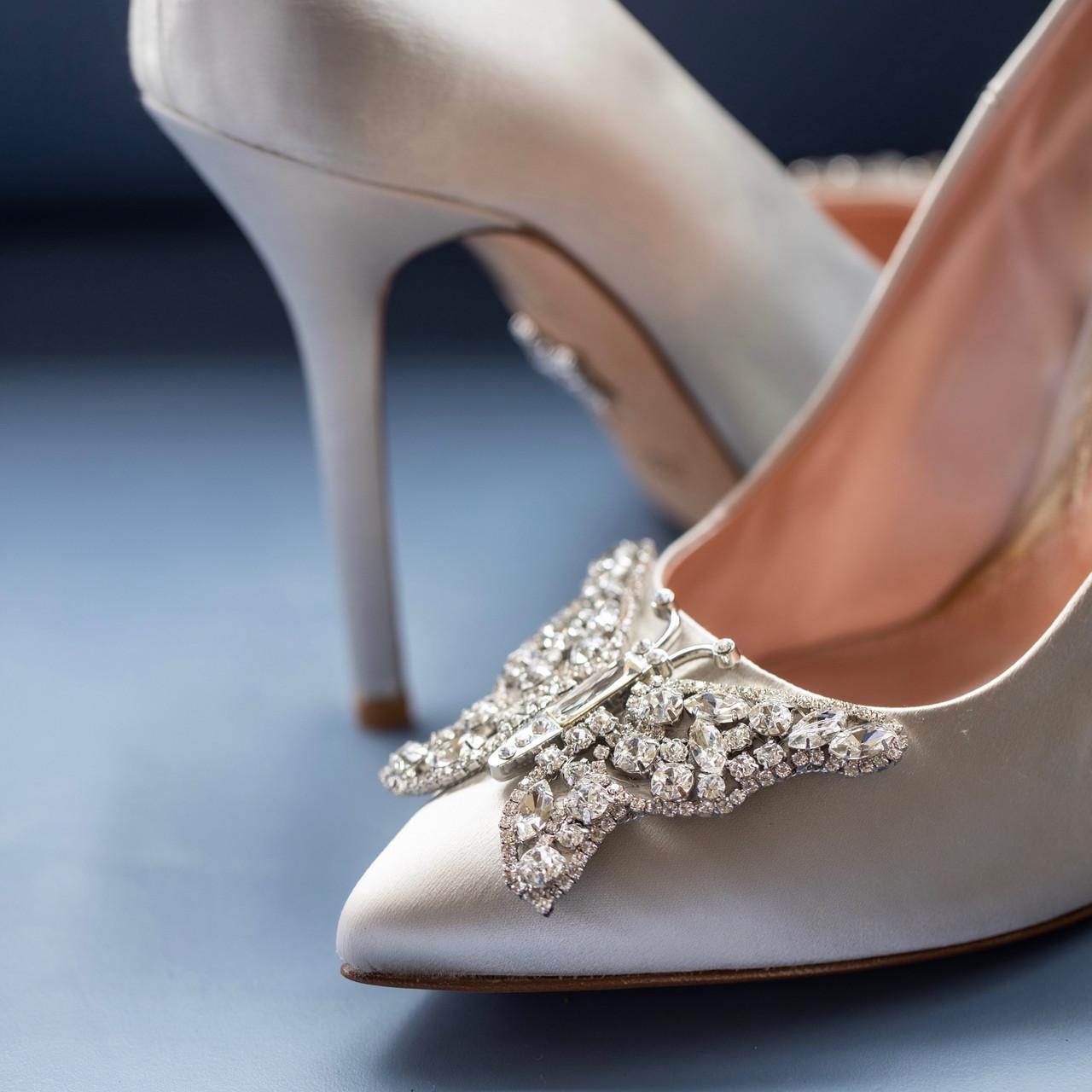April Farfalla Stiletto Silver Satin