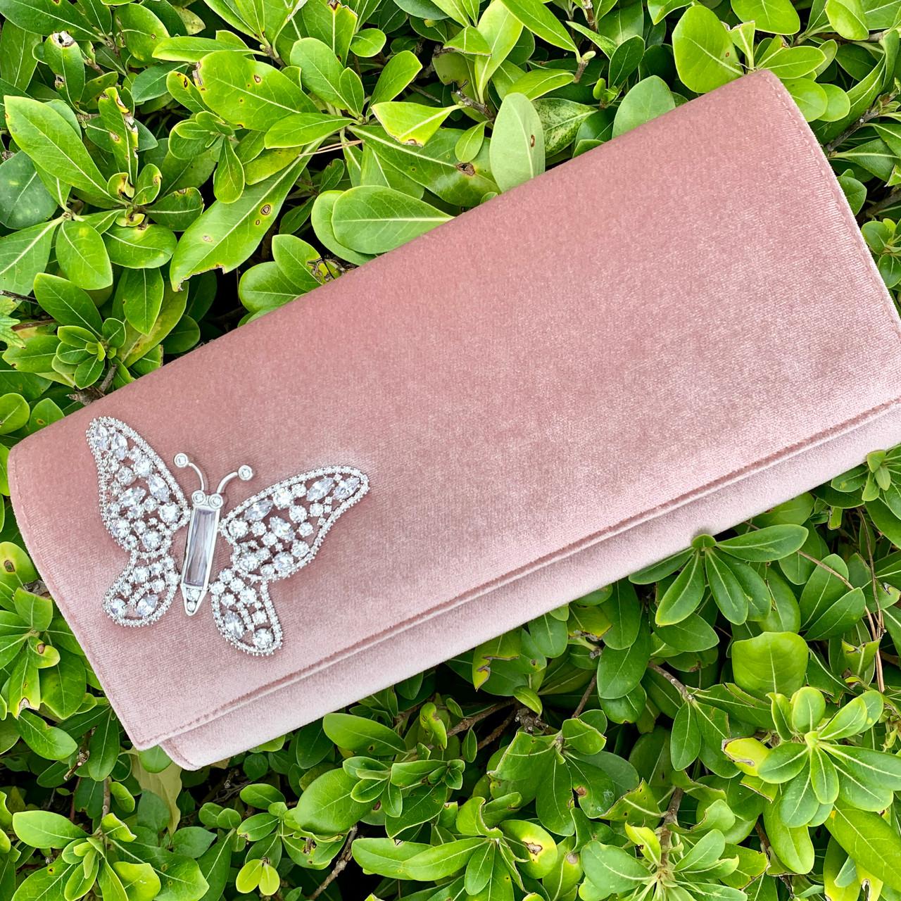 Farfalla Blush Velvet Clutch Bag